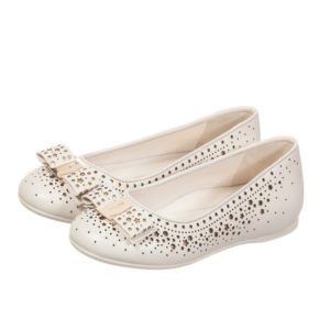 SALVATORE FERRAGAMO MINI Girls Ivory & Gold Star Leather 'Varina' Shoes