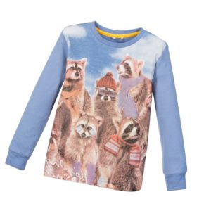 SARABANDA Boys Blue Top with Raccoons Print