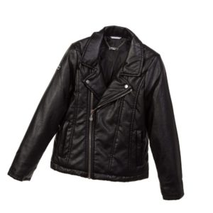 SARABANDA Girls Black Synthetic Leather Jacket