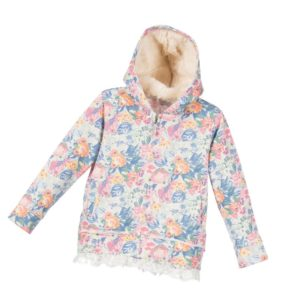 SARABANDA Girls Grey Floral Jersey Zip-Up Top