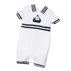 SARAH LOUISE Baby Boys White Knitted Nautical Shortie