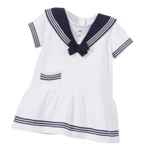 SARAH LOUISE Baby Girls White Knitted Cotton Sailor Dress