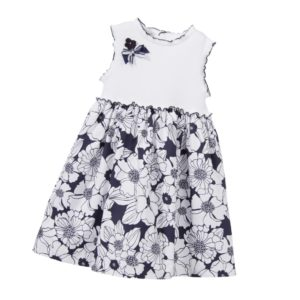 SARAH LOUISE White Cotton Dress with Navy Blue Flowers