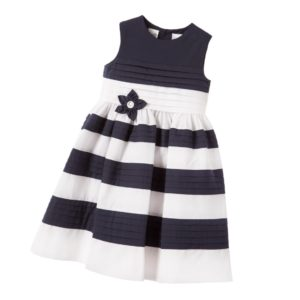 SARAH LOUISE White & Navy Blue Pleated Stripe Dress