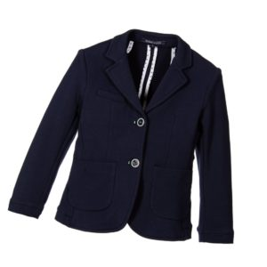 SILVIAN HEACH Boys Navy Blue Cotton Jersey Blazer