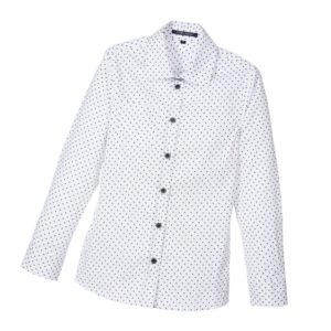 SILVIAN HEACH Boys White & Navy Blue Spotty Shirt