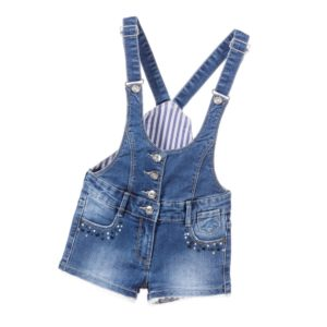 SILVIAN HEACH Girls Blue Denim Dungaree Shorts