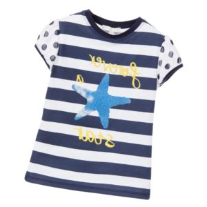 SILVIAN HEACH Girls White & Navy Blue Striped Star T-Shirt