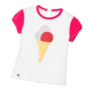 SILVIAN HEACH Girls White & Pink Ice Cream T-Shirt