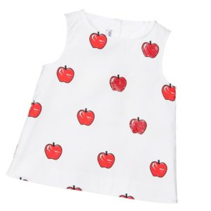 SIMONETTA MINI Girls White Cotton & Red Apple Print Blouse