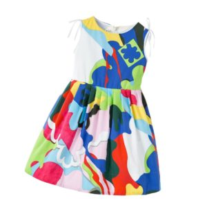SIMONETTA MINI Rainbow Colour Patterned Cotton Dress