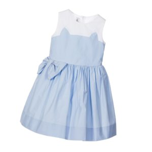 SIMONETTA MINI White & Blue Cotton 'Cat's Ears' Dress with Bow