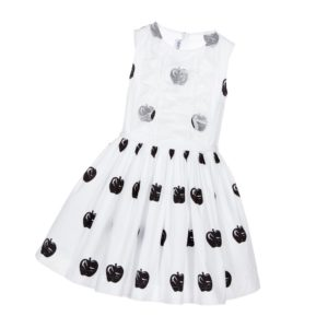 SIMONETTA MINI White Cotton Dress with Black Apples & Silk Ruffles