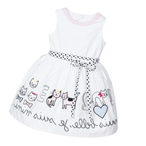 SIMONETTA MINI White Cotton Dress with Embroidered Cats