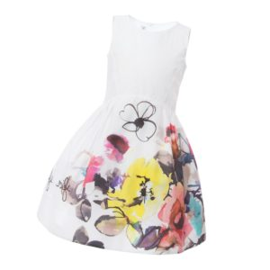 SIMONETTA MINI White Cotton Dress with Floral Pattern