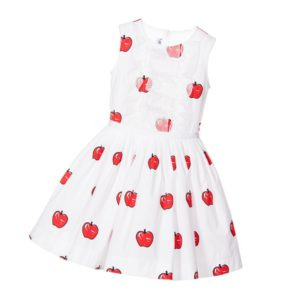 SIMONETTA MINI White Cotton Dress with Red Apples & Silk Ruffles