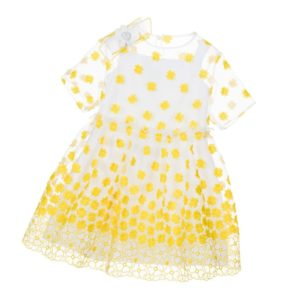 SIMONETTA MINI Yellow Floral Embroidered Organza Dress