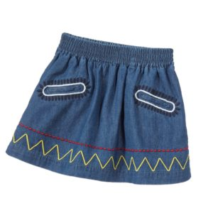 STELLA MCCARTNEY KIDS Blue Embroidered Denim 'Nat' Skirt