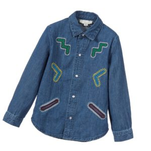 STELLA MCCARTNEY KIDS Girls Blue Chambray Denim 'Penelope' Shirt