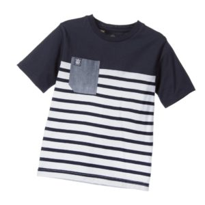 TIMBERLAND Boys Navy Blue & White Stripe T-Shirt
