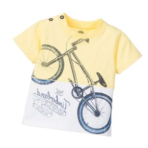 TIMBERLAND Boys Yellow Cotton 'Bicycle' Print T-Shirt