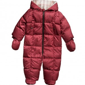 BURBERRY Baby Girls Pink Down Padded Snowsuit