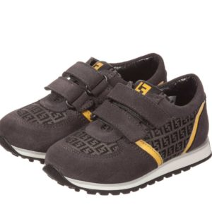 FENDI Boys Grey Leather 'FF' Velcro Trainers