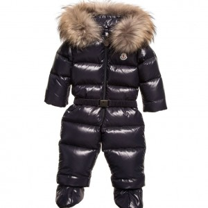 MONCLER Baby Navy Blue Down Padded 'Crystal' Snowsuit