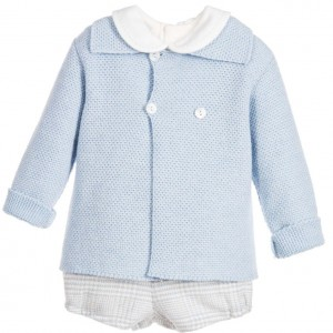 PAZ RODRIGUEZ Baby Boys Blue Wool 3 Piece Shorts Set