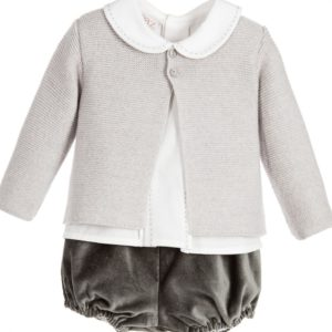 PAZ RODRIGUEZ Baby Boys Grey Wool 3 Piece Shorts Set