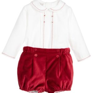 PAZ RODRIGUEZ Baby Boys Red Cotton 2 Piece Shorts Set