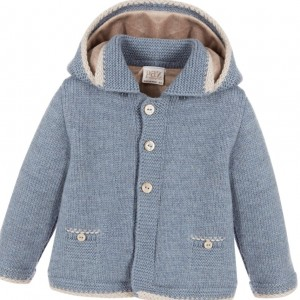 PAZ RODRIGUEZ Blue Wool Knitted Baby Jacket