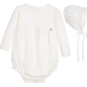 PAZ RODRIGUEZ Ivory Wool & Lace 2 Piece Shortie & Bonnet Set