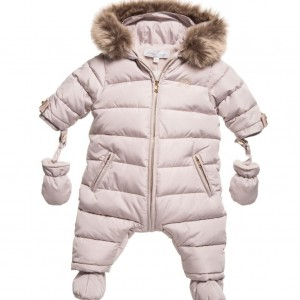 TARTINE ET CHOCOLAT Baby Girls Beige Snowsuit with Fur