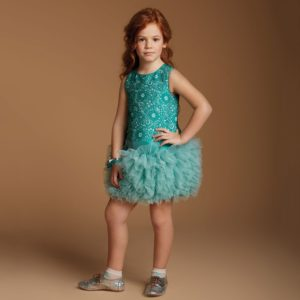 VALMAX Green & Silver Floral Jacquard Dress with Tulle Skirt1