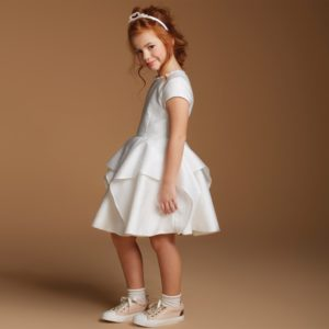 VALMAX White Dress with Fluted Layered Skirt2