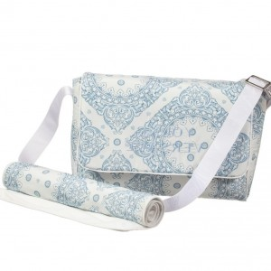 YOUNG VERSACE Blue Maioliche Print Baby Changing Bag