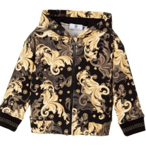 YOUNG VERSACE Boys Black & Gold Cotton Jacket