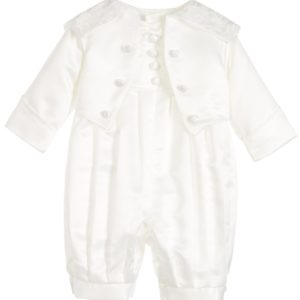 Baby Boys Ivory Satin 3 Piece Special Occasion Suit