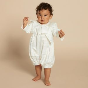 Baby Boys Ivory Satin 3 Piece Special Occasion Suit2