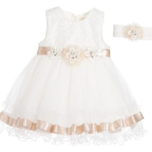 COUCHE TOT Baby Girls Ivory & Beige Ribbon Dress & Headband