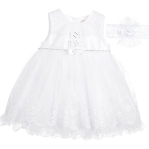 COUCHE TOT Baby Girls White Lace Dress & Headband