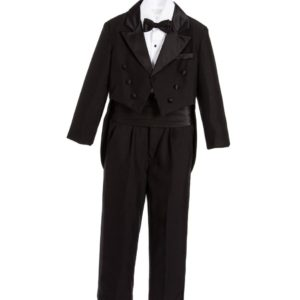 COUCHE TOT Boys 5 Piece Black Tuxedo Tail Suit