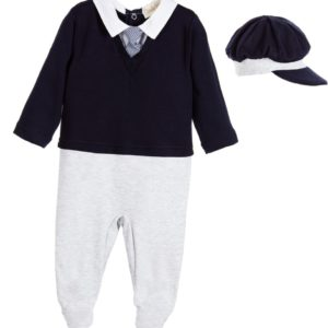 COUCHE TOT Boys Babysuit & Hat Set