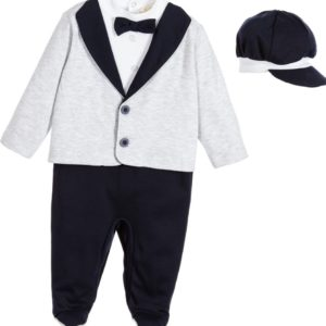 COUCHE TOT Boys Blue & Grey Tuxedo Babysuit & Hat Gift Set