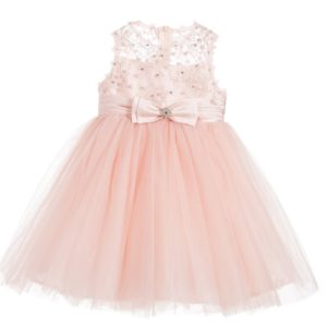 COUCHE TOT Pink Tulle Dress with Bow Brooch