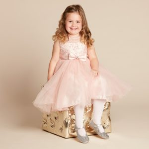 COUCHE TOT Pink Tulle Dress with Bow Brooch2