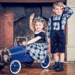 KIDIWI Boys Blue Velvet Dungaree Shorts & Check Shirt