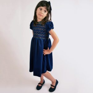 KIDIWI Girls Blue Hand Smocked Velvet Dress