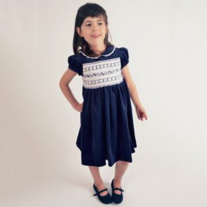 KIDIWI Girls Blue Hand Smocked Velvet Dress2